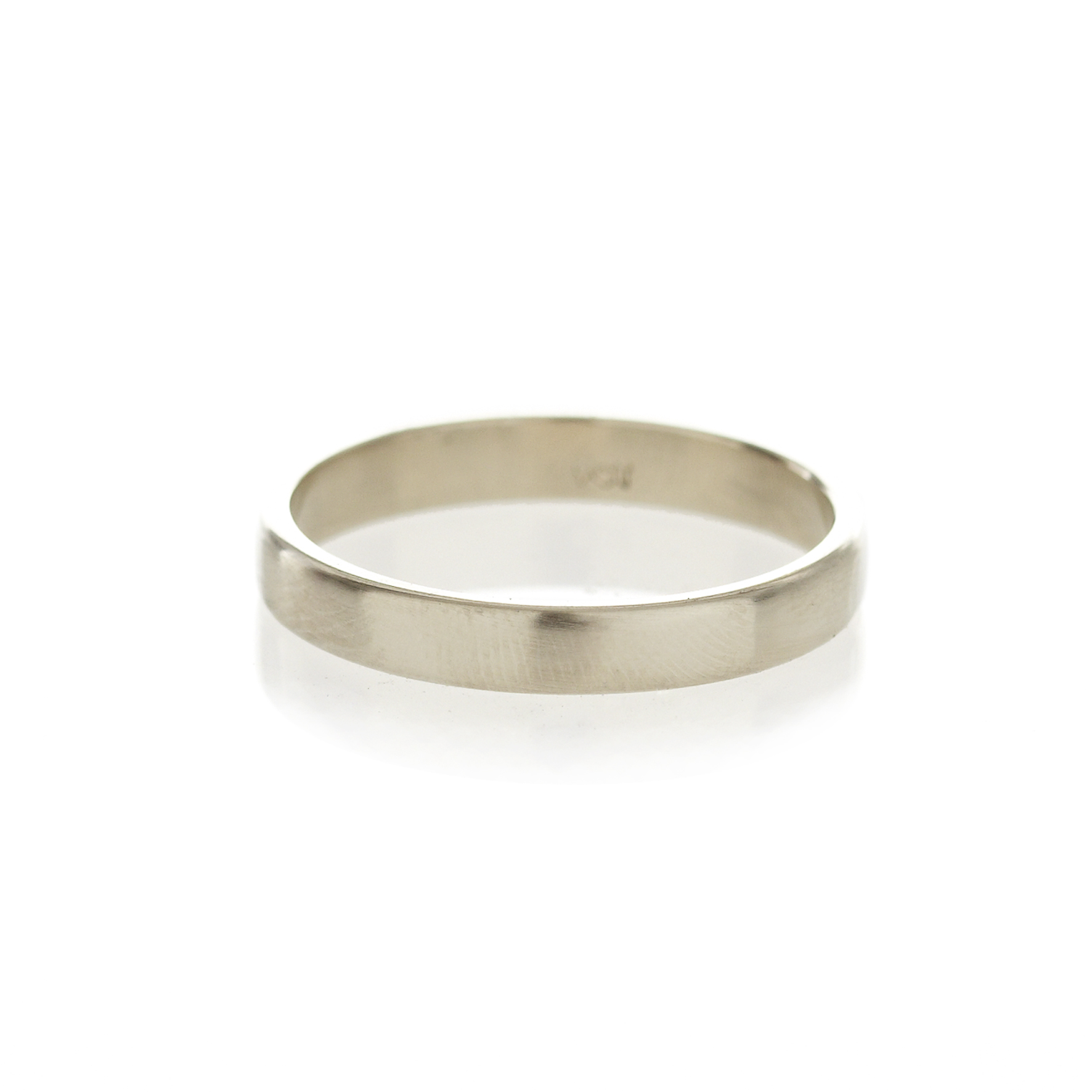 A square profile, 9ct white gold men's band, with a brushed or polished finish.