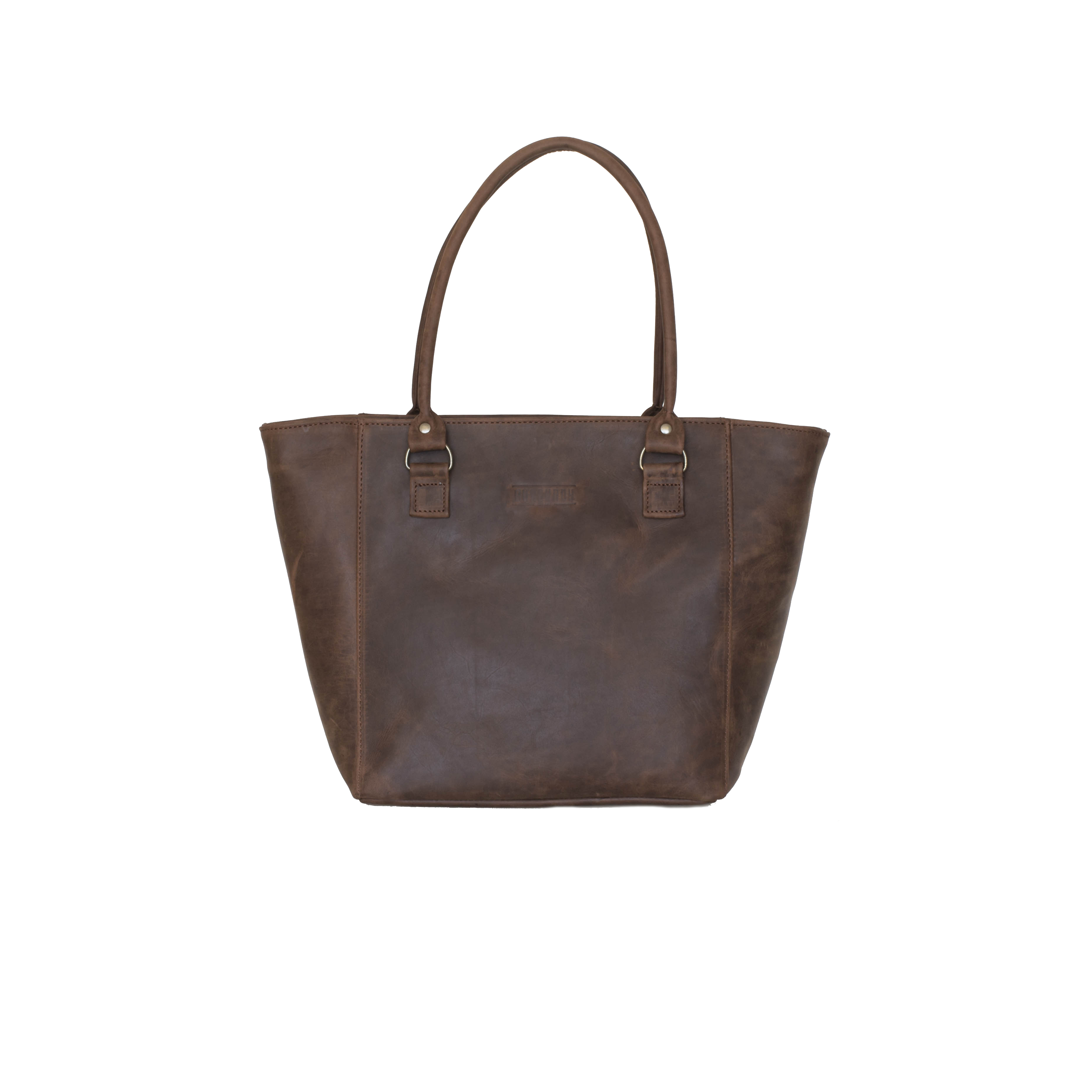 The Handbagwith its simplistic design features and smooth edgesis your perfect everyday handbag.Whether you are the average student, resolved businesswoman or certified supermom, The Handbag is essential to yourwardrobe.    FEATURES:   Light brown cotton canvas lining Interior padded foam lining for laptop protection Exterior zip pocket Interior zip pocket with leather trimmings. Two interior file pockets suitable for a mobile phone, keys and lip balm     DIMENSIONS:  H 30cm x W 45cm x D 13cm
