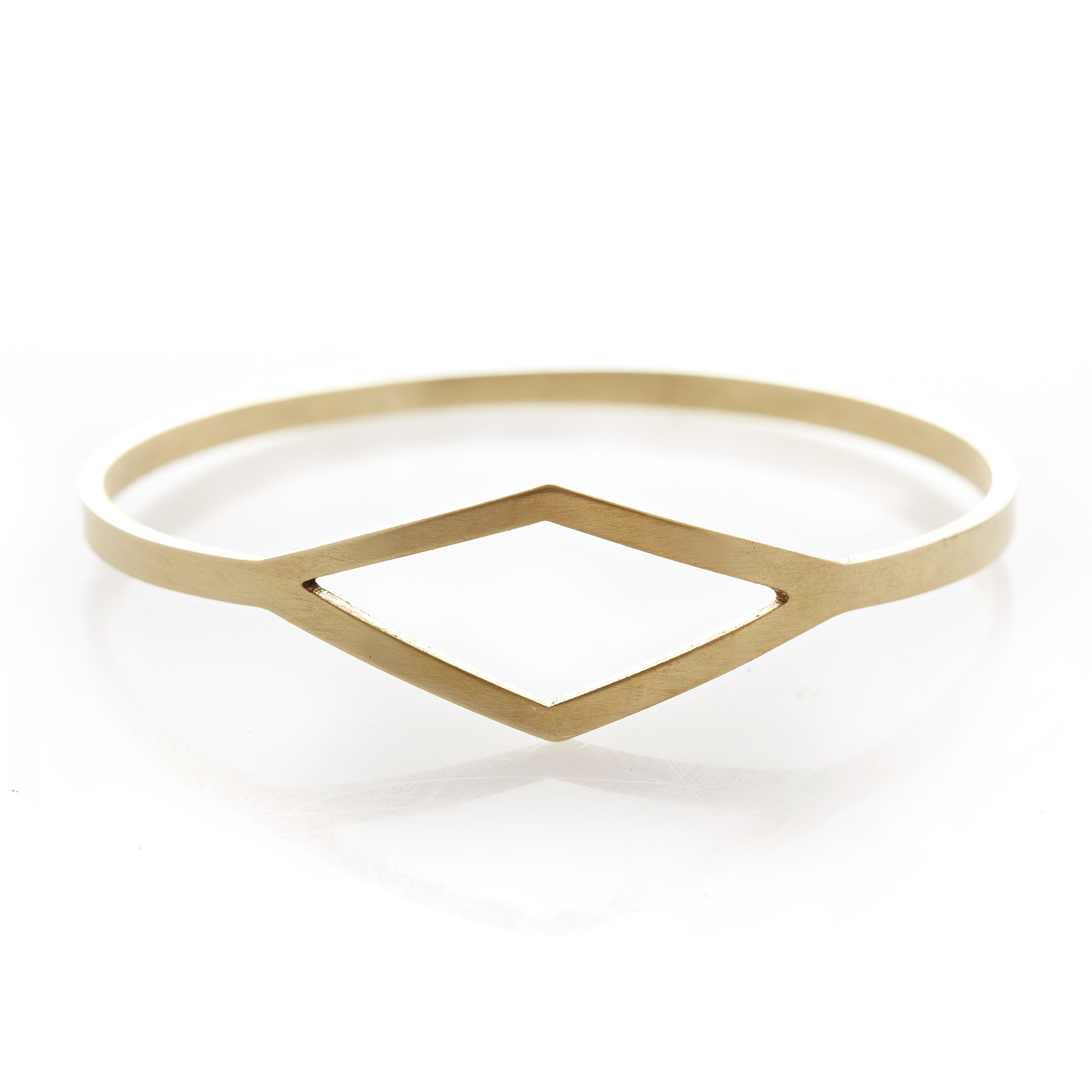 Diamond brass bangle