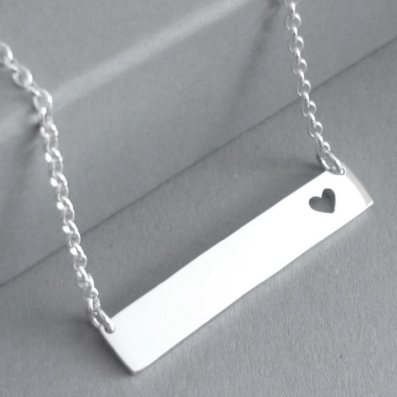 Sterling silver bar necklace, with little heart cutout from bar..