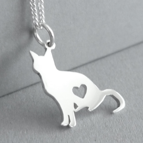 Sterling silver hand-cut Kitty cat pendant.