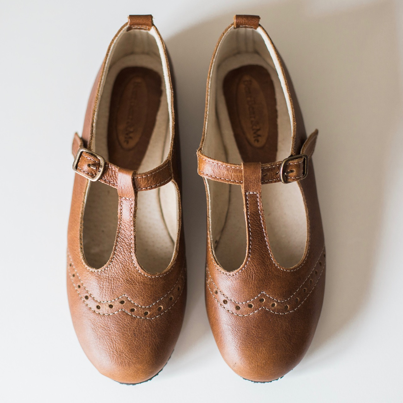 Ladies Vintage Brown Mary Janes with broguing - LMJ8