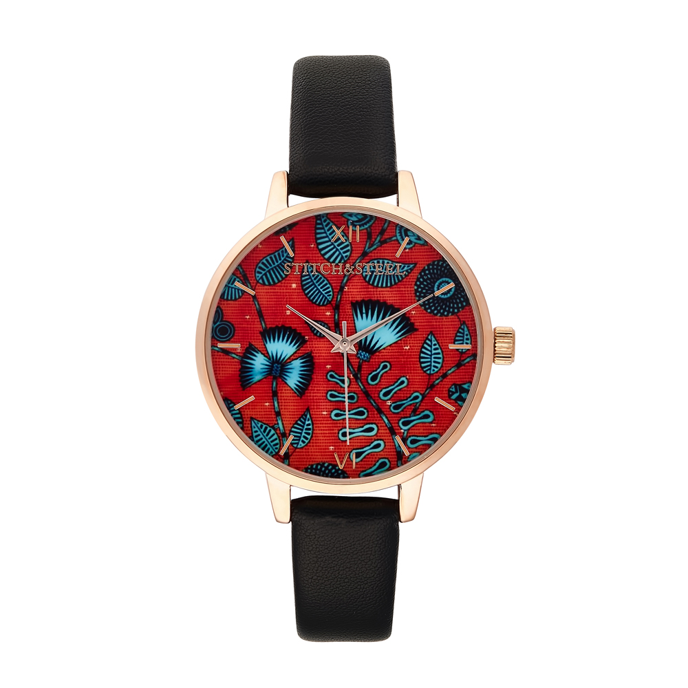 Take a leaf out of African with this passion inspiring print. Bright and bold are but a few words you can expect to be called when you are seen wearing this African timepiece. This is an elegant way to include the colour of love and passion to your everyday outfit or that special night out. Paired with a plain or fun outfit, it will definitely brighten your day.  38mm Diameter Dials Slim face silhouette Rose Gold Plated buckle, case and dials 6&12 Roman numerals Japanese Quartz Movement Stitch&Steel branding on face and engraved underneath case  Women's African Print Wrist Watch by Stitch and Steel
