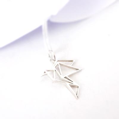 Origami Bird Pendant on chain