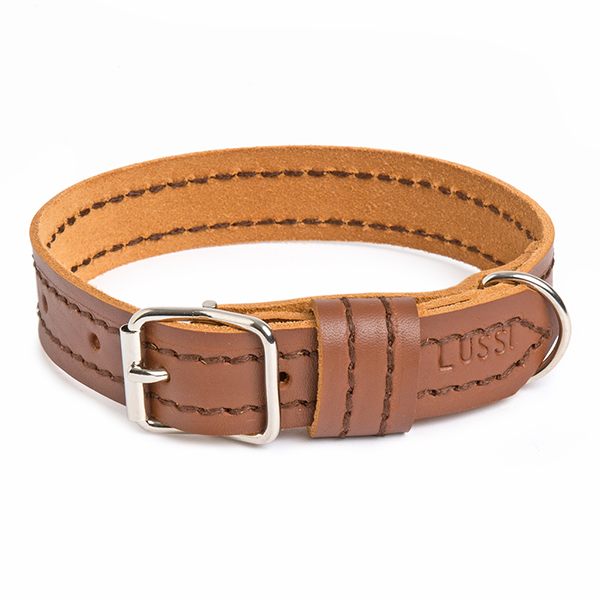 """Constructedusing dyed vegetable tan leather that is both tough and soft, and will age beautifully. Solid buckles and heavy duty D-rings are used to ensure a product that lasts. Want to customise your collar? No problem, add your details in the """"Comments"""" section at checkout.  Proudly made in Cape Town, South Africa.   Small:For neck sizes: 25-35cm;Width: 2,5cm Medium:For neck sizes: 35-45cm;Width: 2,5cm Large:For neck sizes: 40-50cm;Width: 2,5cm X-Large:For neck sizes: 47.5-58cm; Width: 3cm XX-Large:For neck sizes: 59-68cm;Width: 3cm   How do I measure my dog's neck?  Loosely put a tape measure around your dog's neck, in a way that seems comfortable. Please don't add any additional cms. If your dog's neck size is in between 2 of the above size brackets, it is up to you which one you'd prefer."""