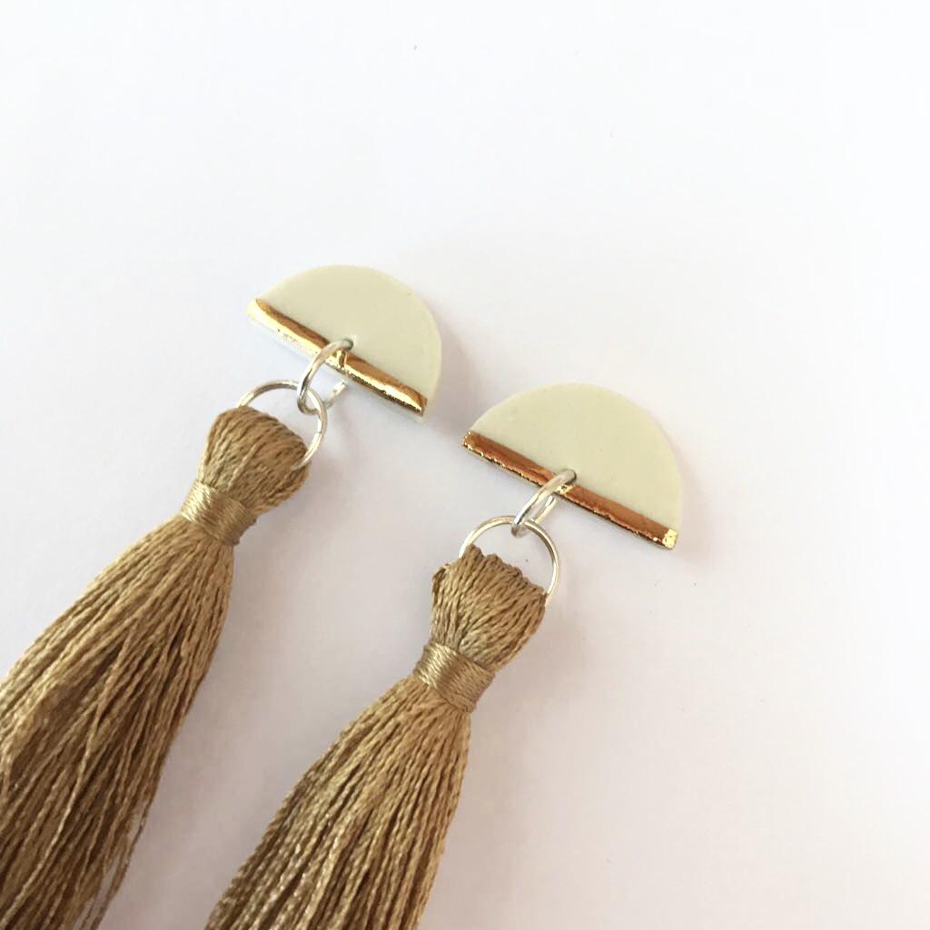 Halfmoon tassel earring