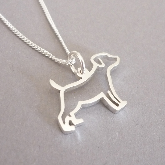 Sterling silver handmade Dog outline pendant.