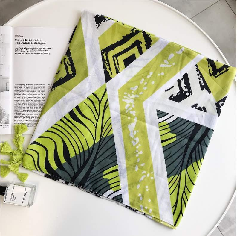 Lime graphic print scarf