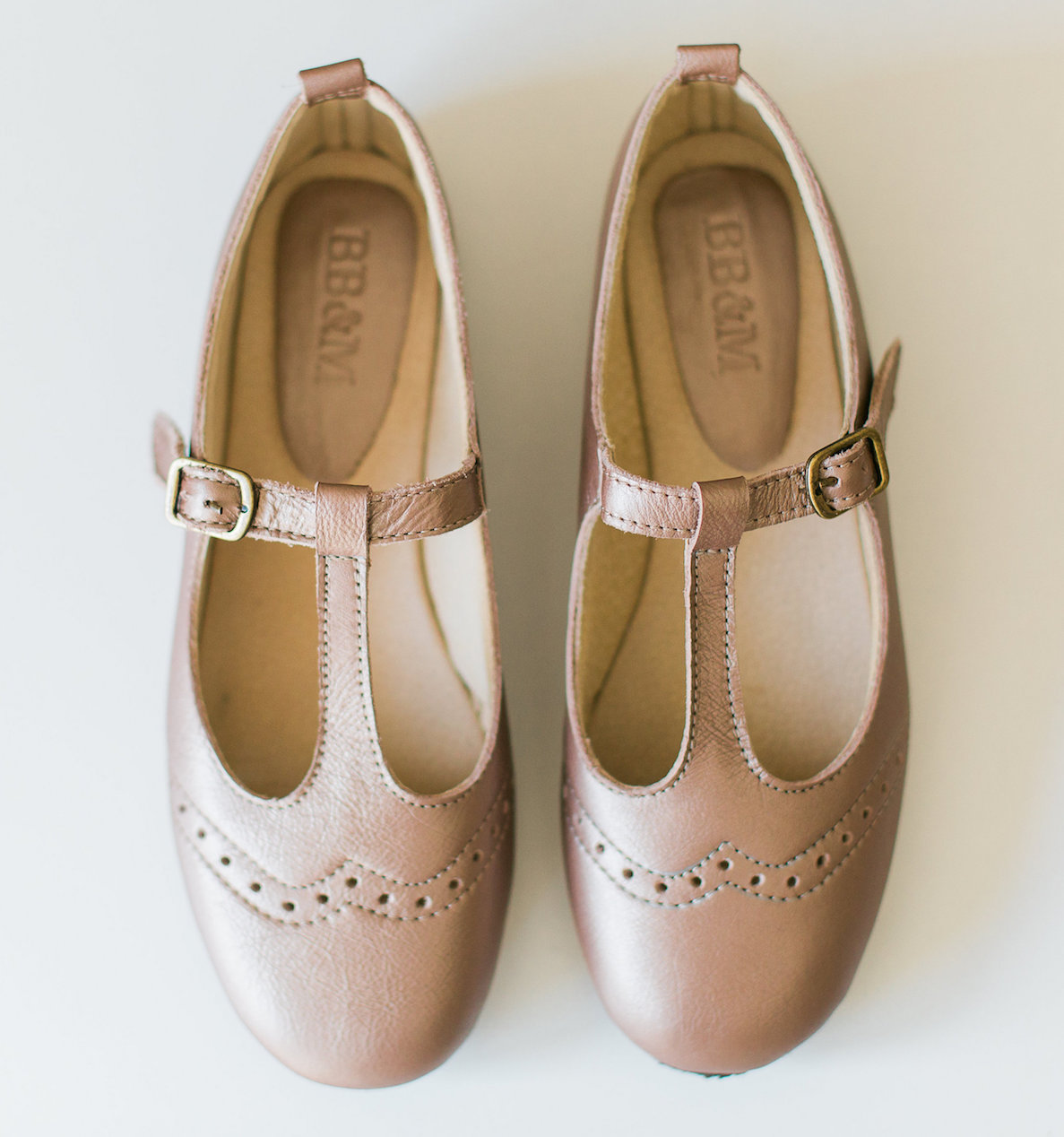Ladies Rose Gold Mary Janes with broguing - LMJ10