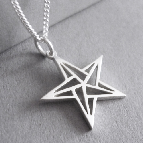 Cute little hand-cut sterling silver star pendant - inspired by origami design..