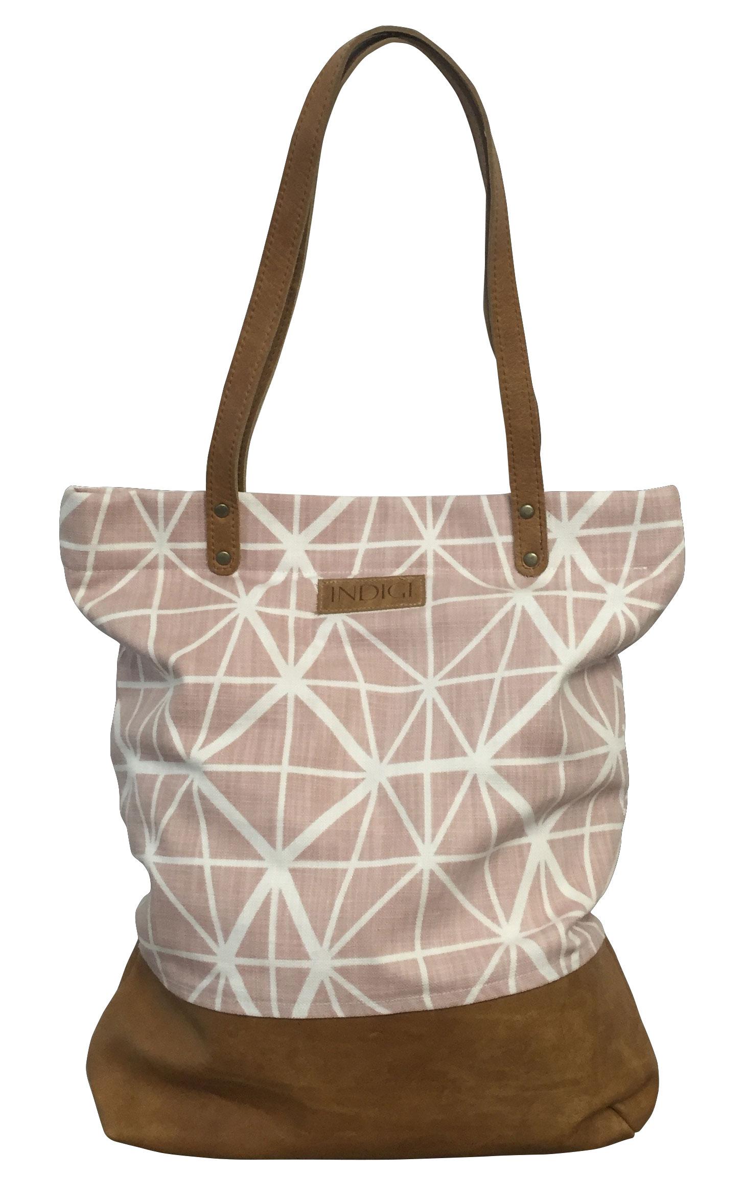 Shoulder Bag Leather Base and Handles Facet (Nude Pink)