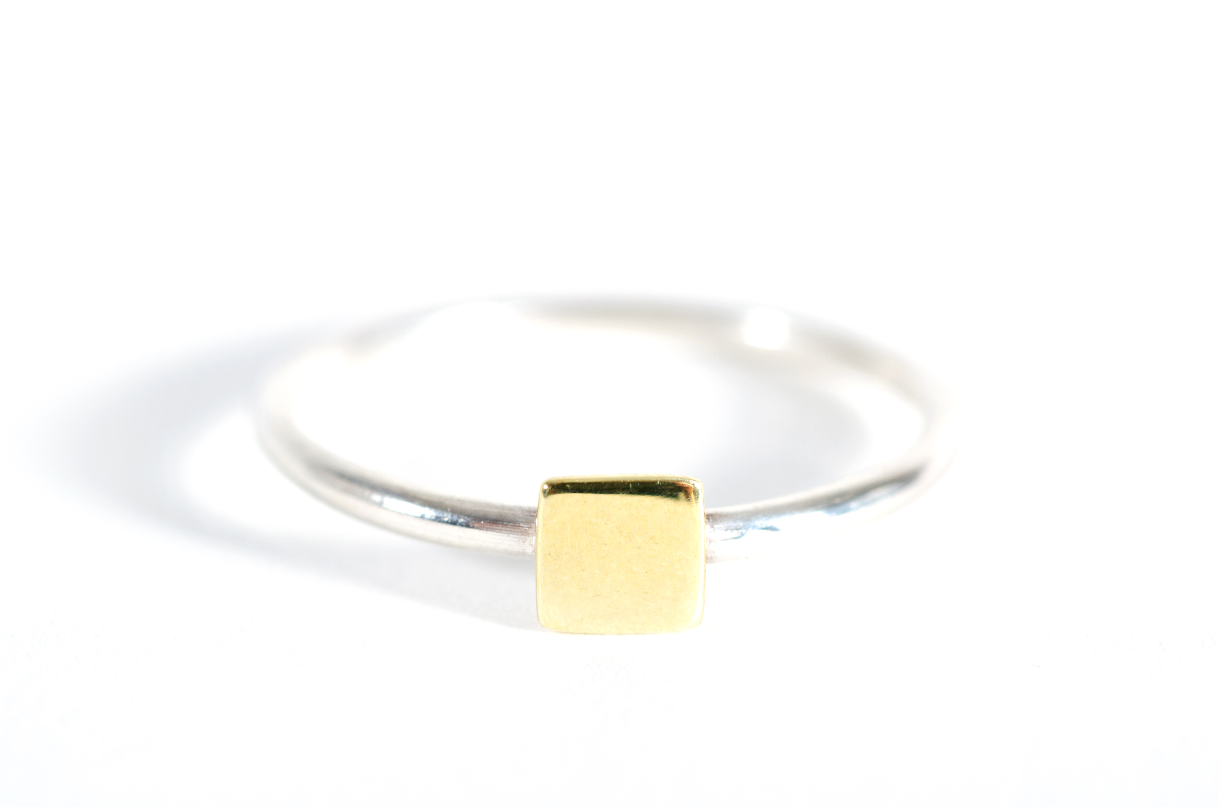 Square Shape Ring Silver and Brass