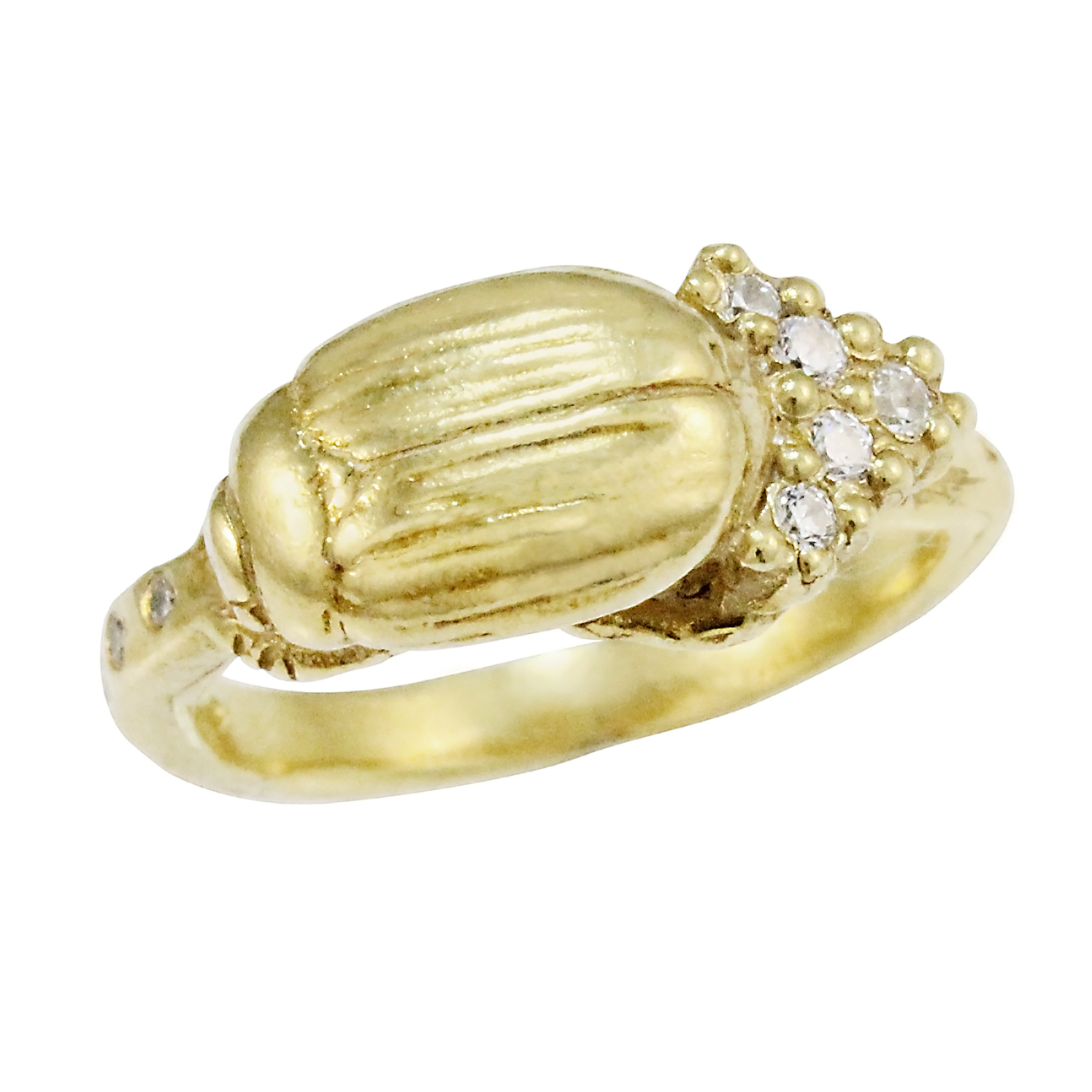 9ct Gold Diamond Single Cluster Beetle Ring