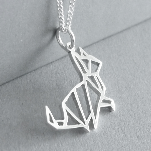 Cute little hand-cut sterling silver kitty cat pendant - inspired by origami design..