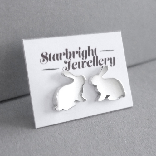 Sweet little bunny sterling silver stud earrings.  With sterling silver large butterfly clip on back :)