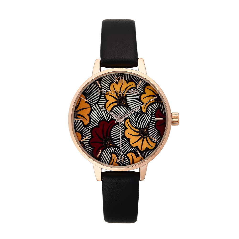 Make waves in this stunning red and yellow flower African print design. This is made for the discerning lady who loves her print but likes to keep it simple yet stylish. Your wrist will be the focal point of your outfit, while ensuring that you don't miss that meeting to get you to the next level in life. Each one of our watches comes with a manufacturers warranty enclosed in the box, we pride ourselves in our packaging where each watch comes with a unique African Dutch Wax Print Drawstring bag which has been made by local women in South Africa as we pride ourselves to be a design company whom supports our local community. 