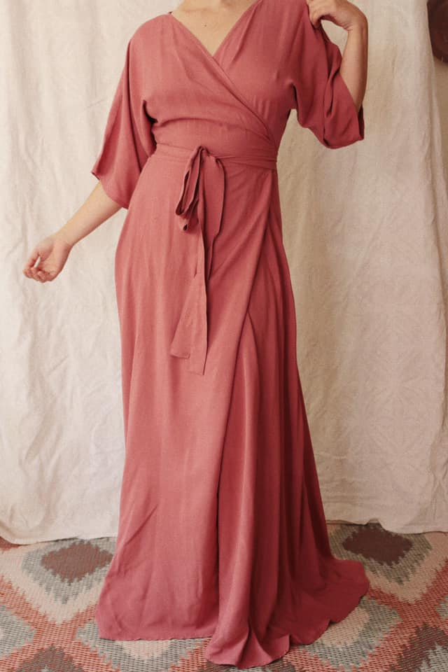 Our Gracie Wrap Dress is elegant and comfortable  Made in a Rayon Twill, we love the way the fabric falls across the body  All our fabric is pre shrunk but we highly recommend cold washing only, no tumble drying, gentle steaming or ironing only.  Colours available at the moment are Blush, Burnt Orange, Black, Emerald Green, Mustard