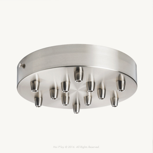 200 mm Stainless Steel Ceiling Cup with Stainless Steel Cable Grips and Stainless Steel Thumbscrews.