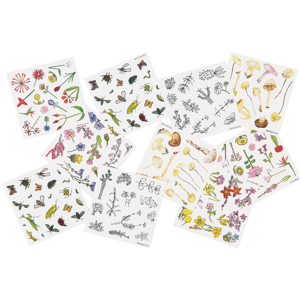 NEW vinyl stickers. Each pack has 2 sheets of individually cut stickers. All the flowers, animals, birds, insects and other life are naturally South African. Choose your pack from the drop-down menu (look for the codes at the top of the pics).