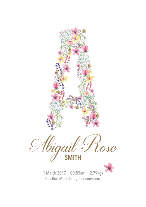 Personalised name print ~ Floral initials