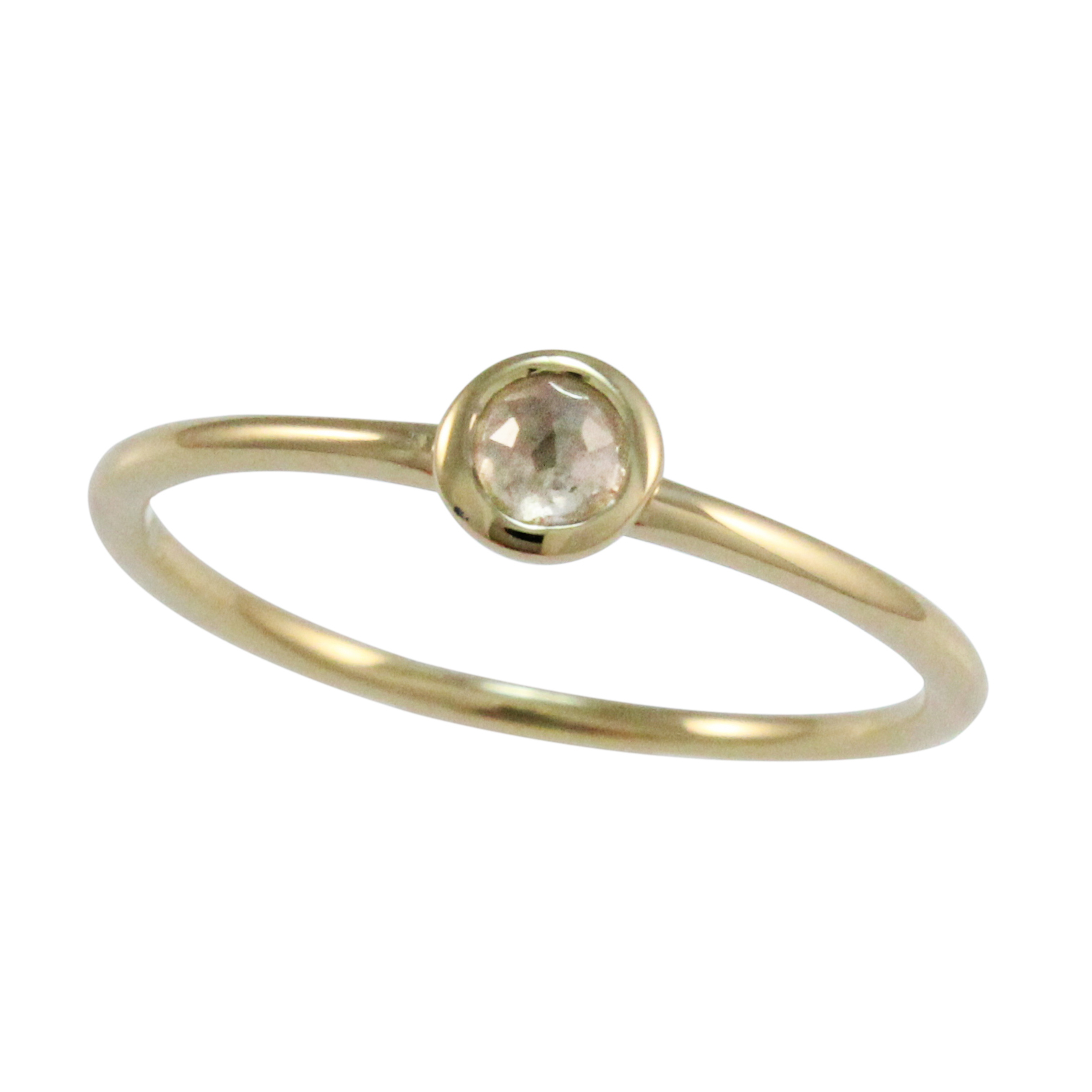 Yellow Gold Light Grey Rose Cut Diamond Stack Ring