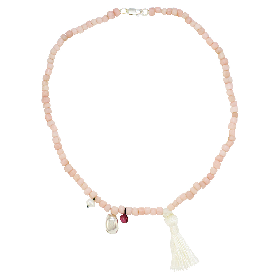 Small Beetle Tassel Necklace in Light Pink