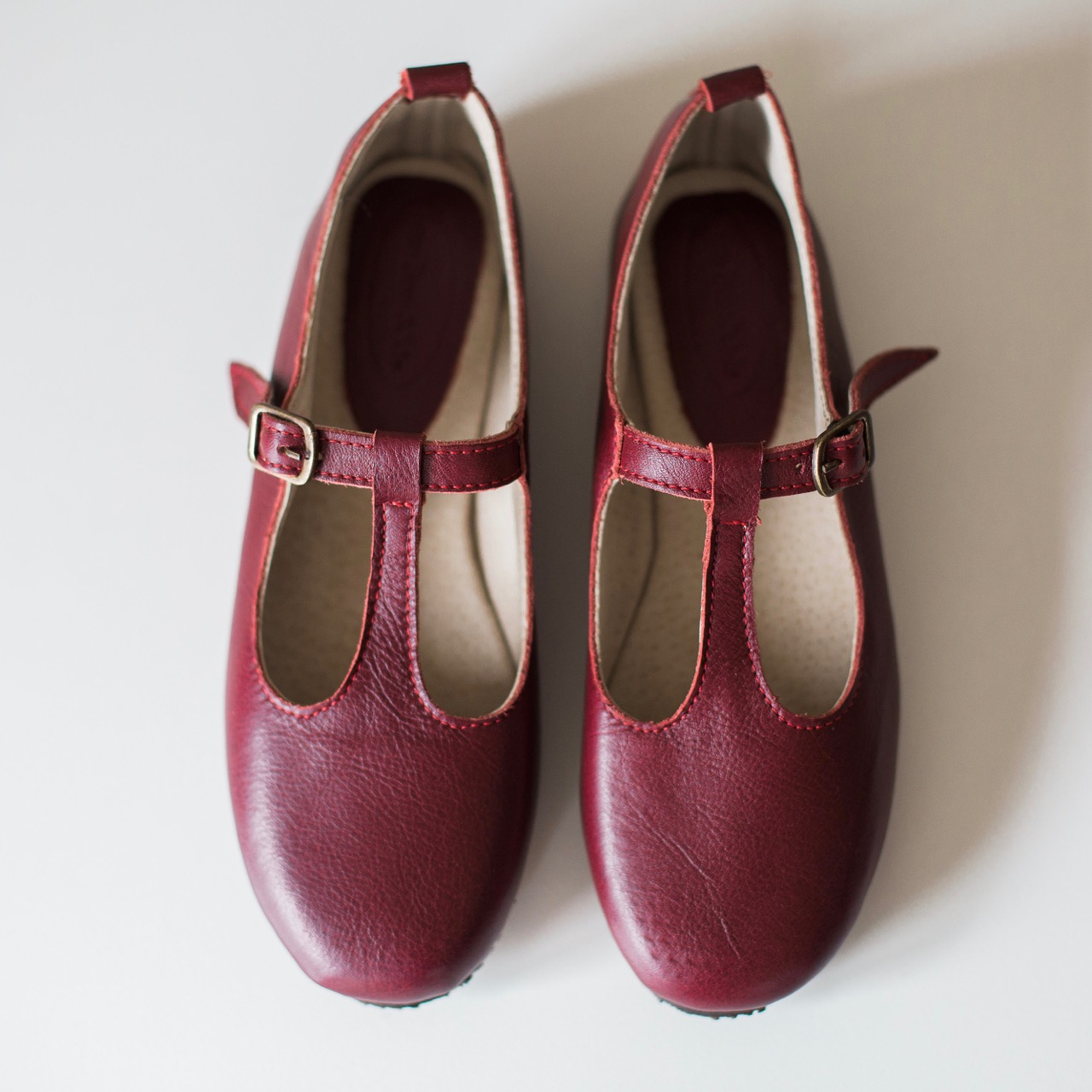 Ladies Burgundy Mary Janes - LMJ4