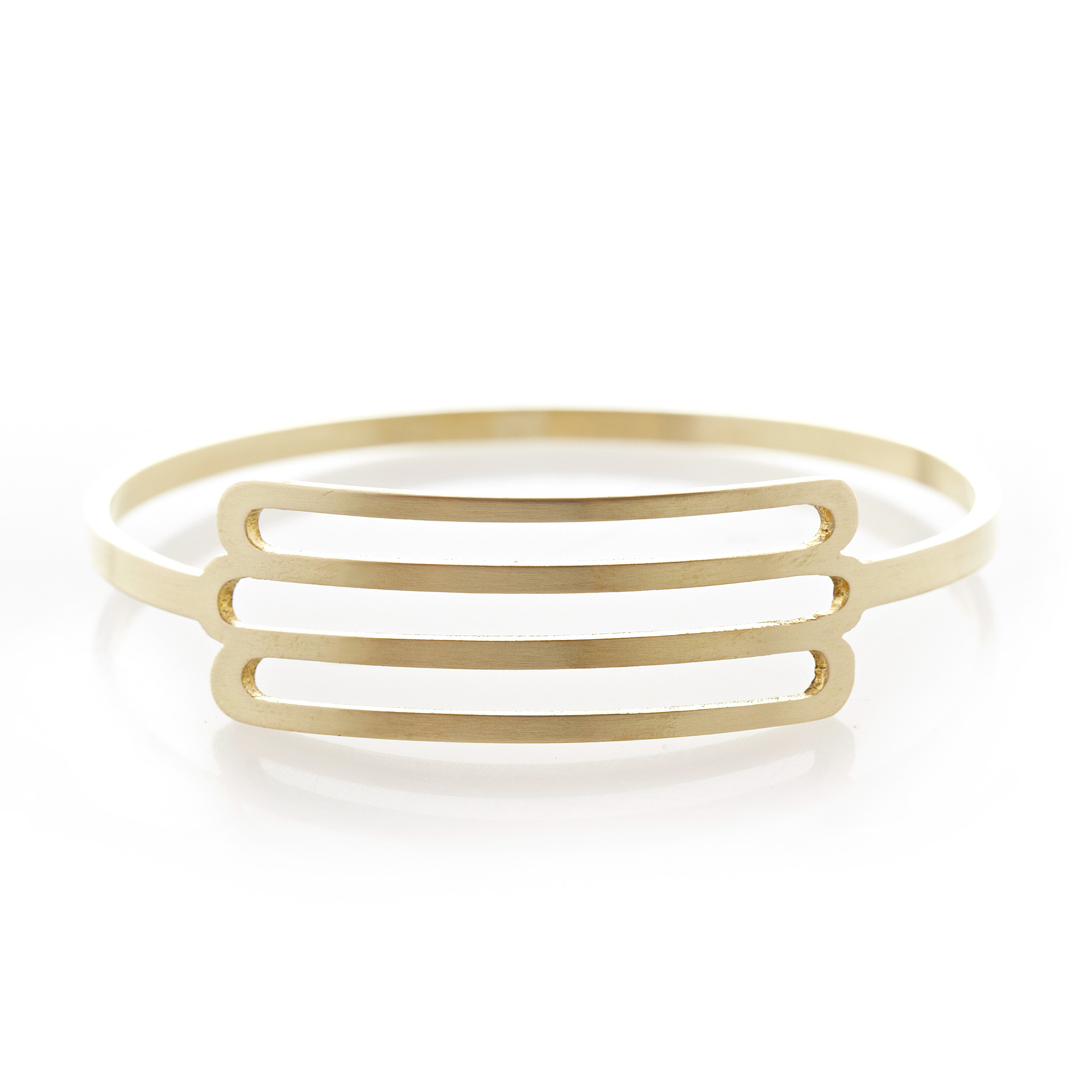 Three stripe brass bangle