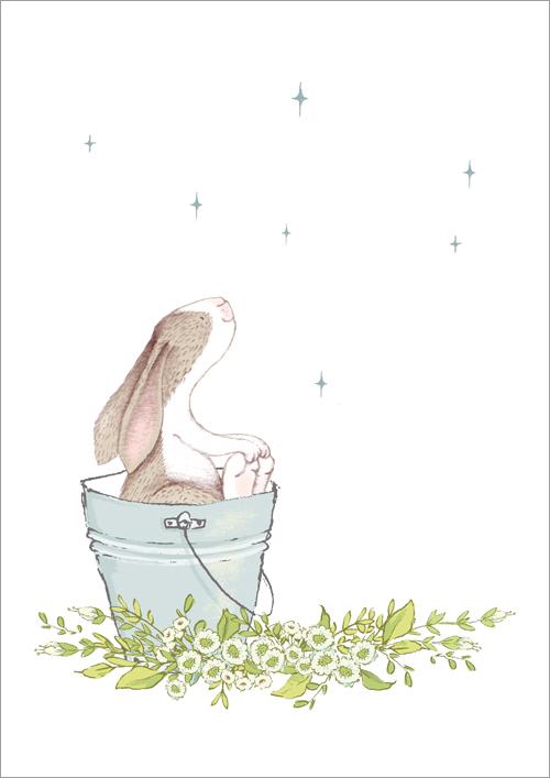 Children's print ~ Bunny & Stars