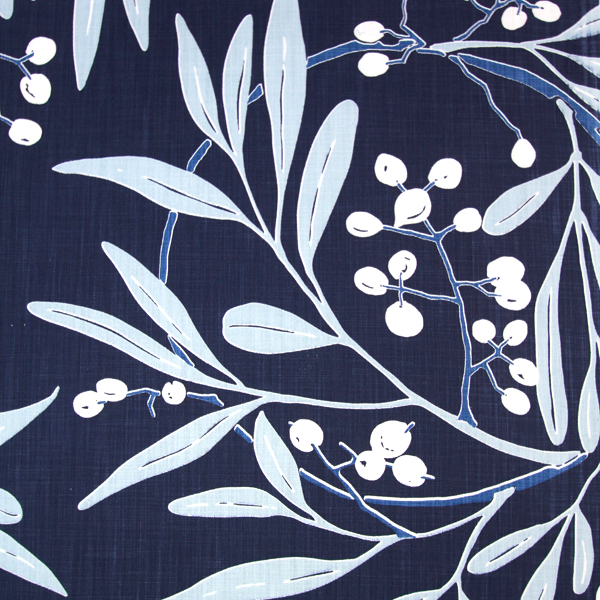 Oh! Live takes its name from the wild olive trees in my garden. The large circular repeat features the berries and elegant long leaves of this gentle indigenous tree.