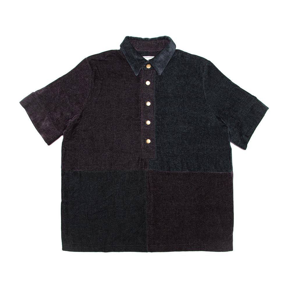 A classic box-shaped polo shirt, cut from large block patches. Finished with a straight hem and antique brass buttons. Cut from a luscious chenille throw milled by South African heirloom textile mill, Mungo. 