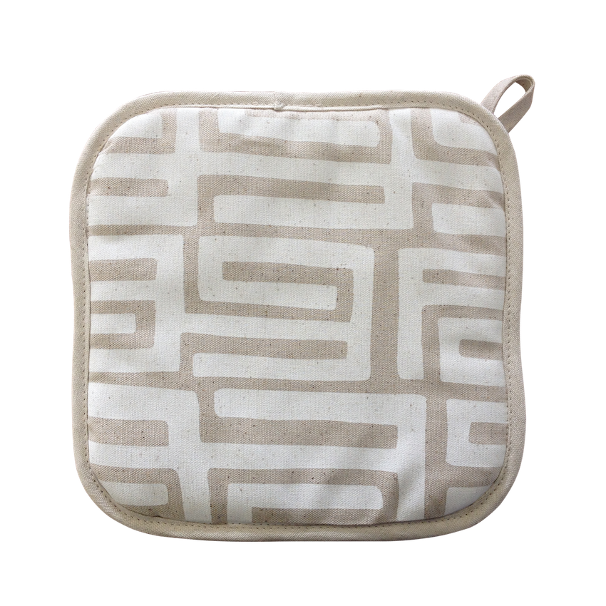 Pot Holder - Kuba Kuba (White on Natural)