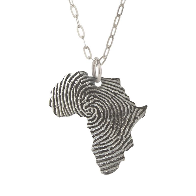 The  Silver Africa Fingerprint pendant features a fingerprint pattern that can  be manufactured in Gold, Silver, Brass, Stainless steel, Titanium,Platinum.                                                                      