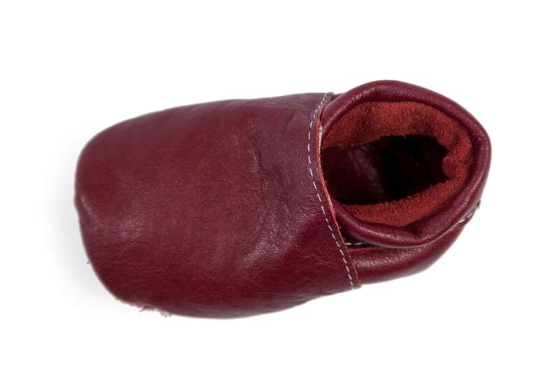 Our Plain Range! No mess, no fuss... just a darkish burgundy coloured soft sole for the plane Jane or Dane.