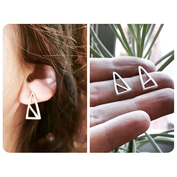 'Similar but Different' Triangle handmade Stud Earrings.