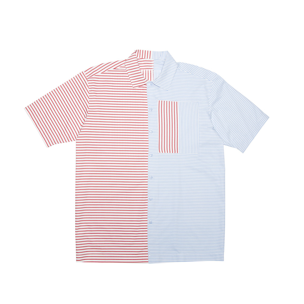 A classic box-shaped shirt featuring contrasted blue & red panels. Cut from a lightweight 100% cotton. Finished with a straight hem.