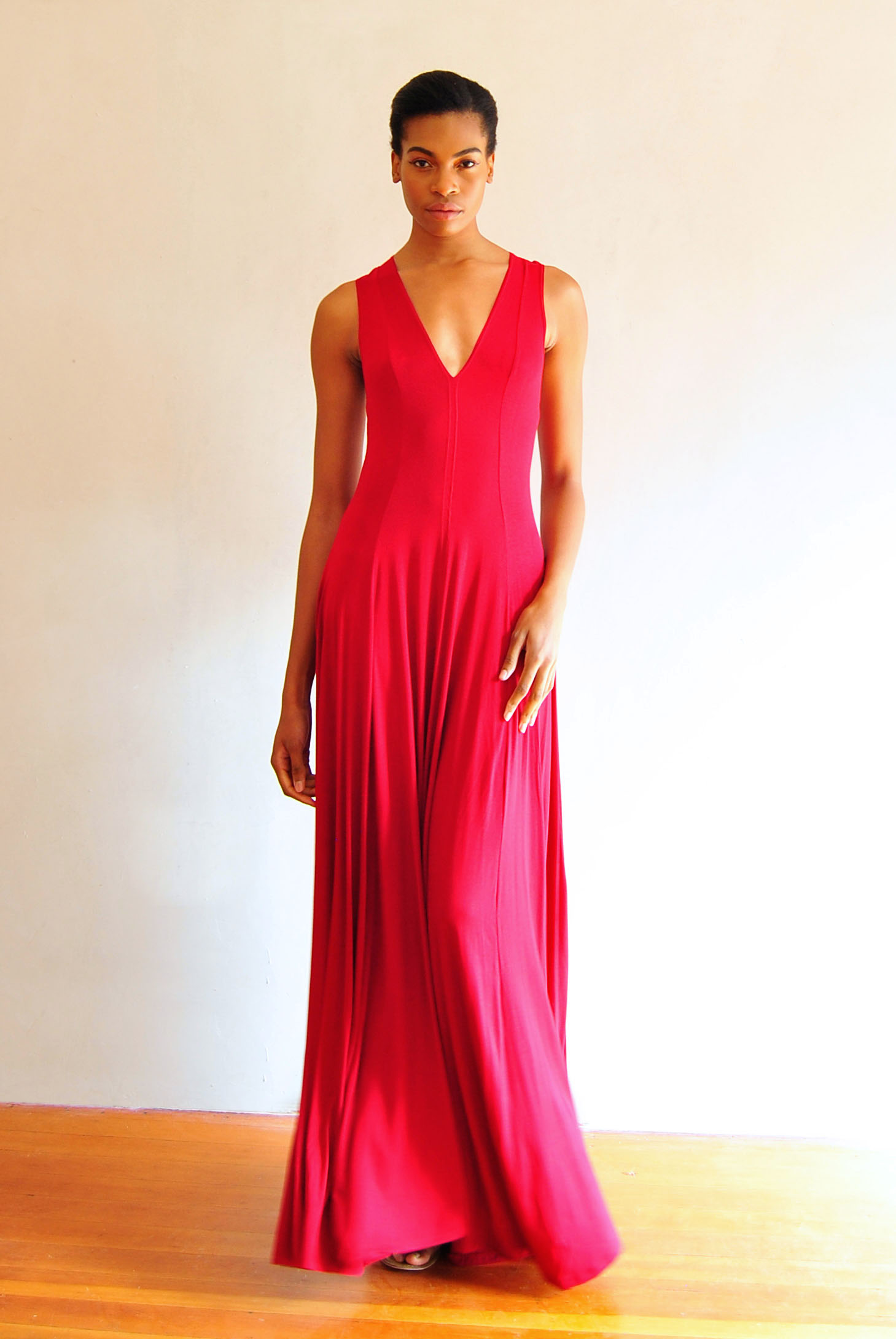 Viscose Maxi Dress Red