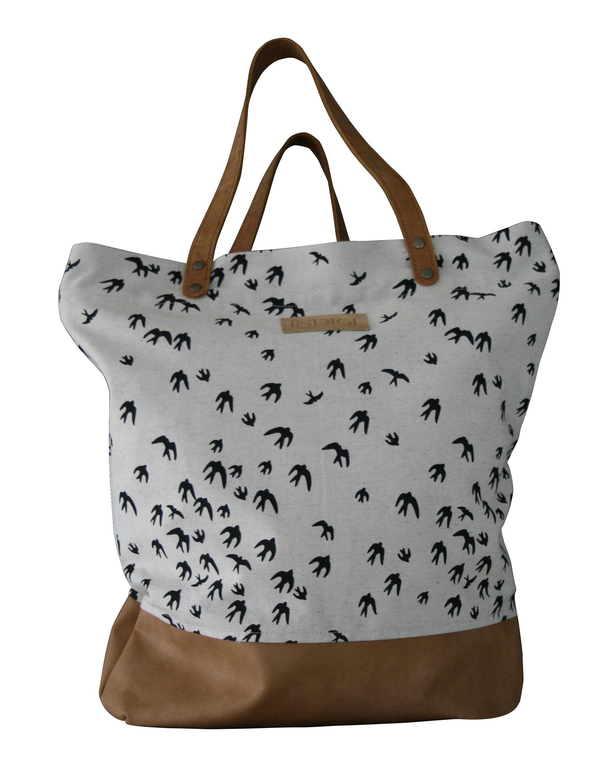 Shoulder Bag with Leather Base and Handles Birds (Black)