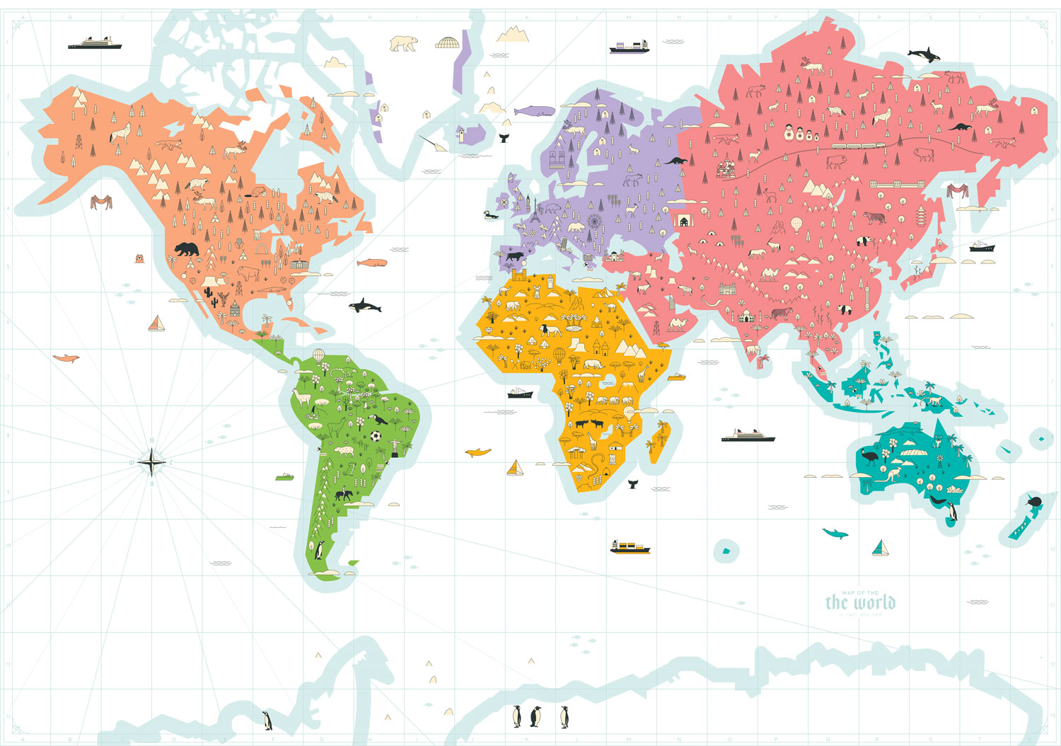 A cute maps showcasing some of the animals from around the world.