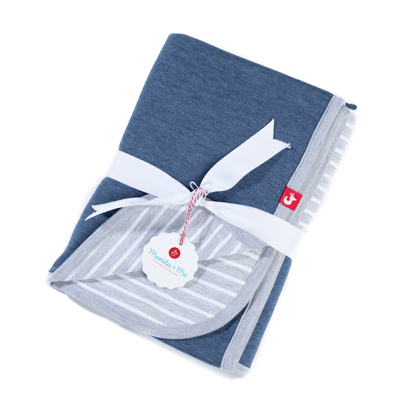 PRODUCT DESCRIPTION   100%cotton, pre-washed can be washed at 40°C 70 x 110cm = an ideal size for babies and toddlers cuddling, wrapping, keeping your baby warm without overheating due to breathable cotton knit fabric the light grey with lots of white creates a very neutral look and can be used both for boys and girls all blankets can we used from both sides denim blue, aqua and pink have a STAR appliqué on the front side