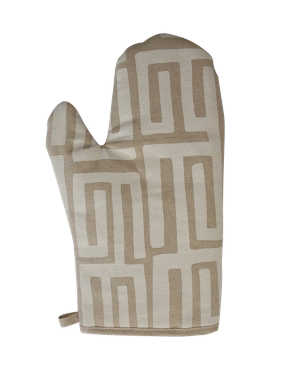 Oven Glove - Kuba Kuba (White on Natural)