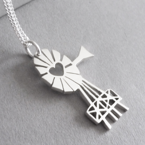 """Sweet windmill or """"windpomp"""" pendant.  Pendant is cut by hand from 1.4mm thick sterling silver plate, and measures approx. 18x29mm in size, andyou have a choice of 45cm or 50cm chains, or no chain :)"""