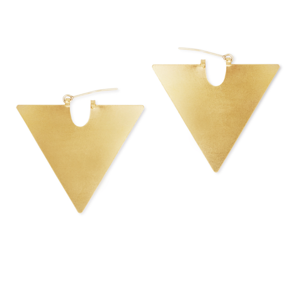 Triangle Brass Shape Earrings non allergenic silver gold plated with brass anti tarnish coating