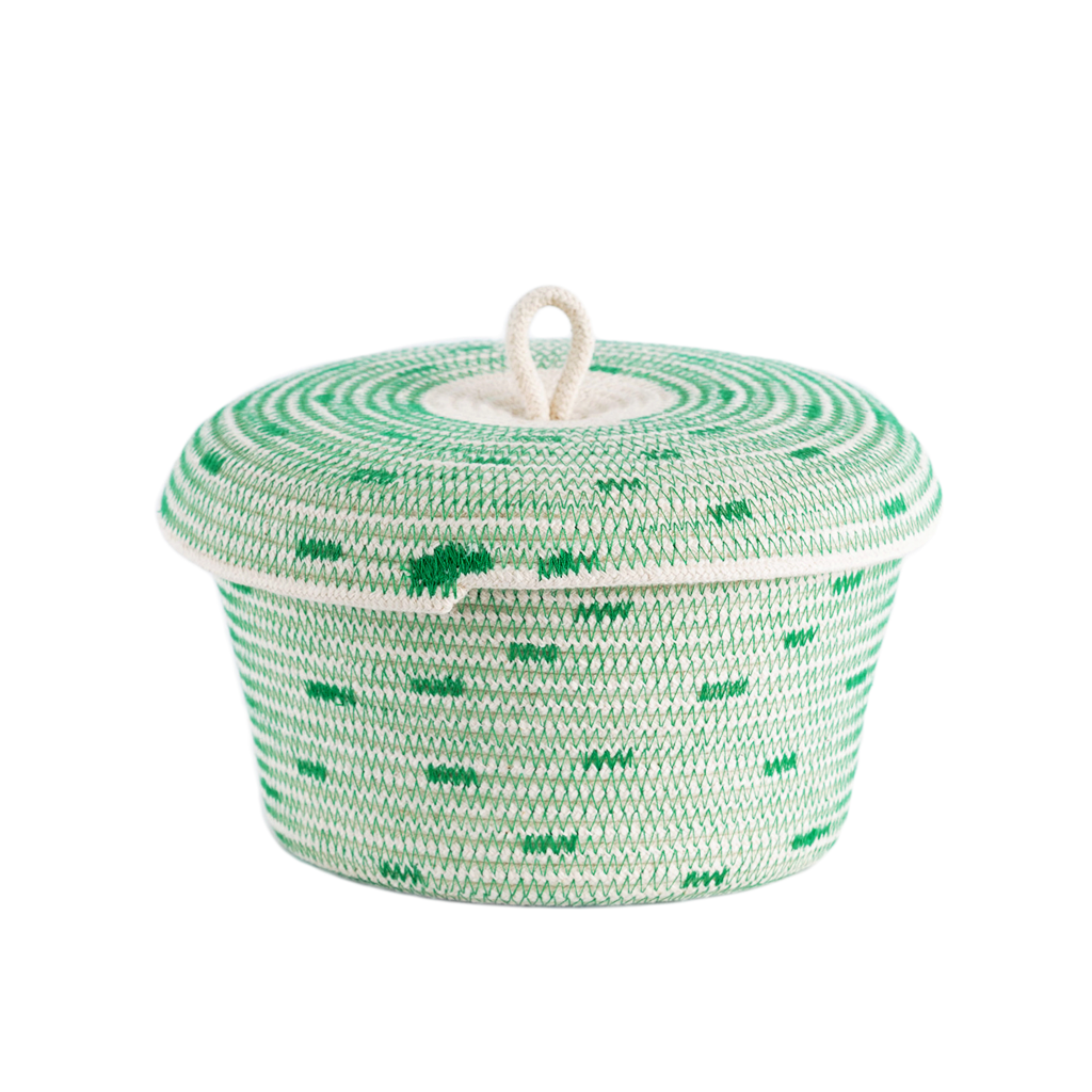 Lidded Basket - stitched (green)