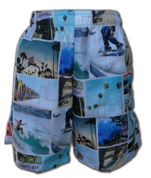Quick dry swim shorts with a draw string in a unique Cape Town surf collage print