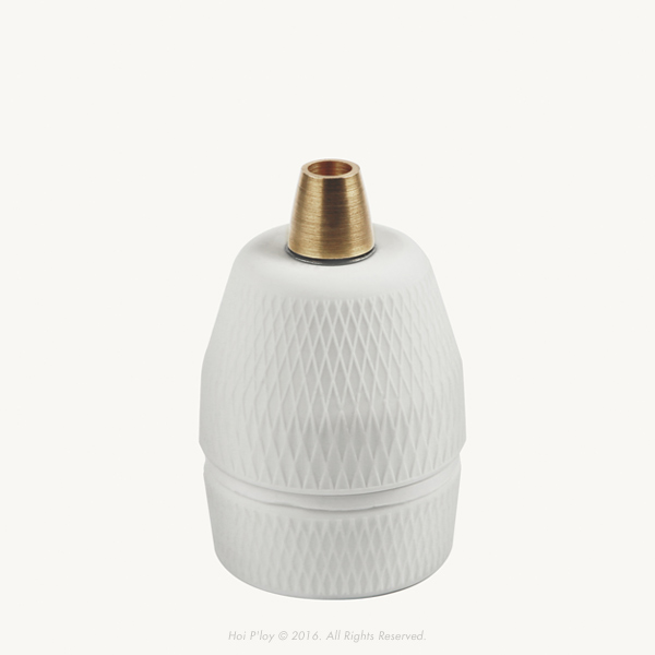 Diamond Porcelain Lamp Holder with Brass