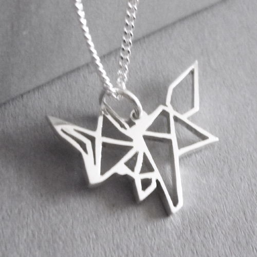 Cute little hand-cut sterling silver fox pendant - inspired by origami design..