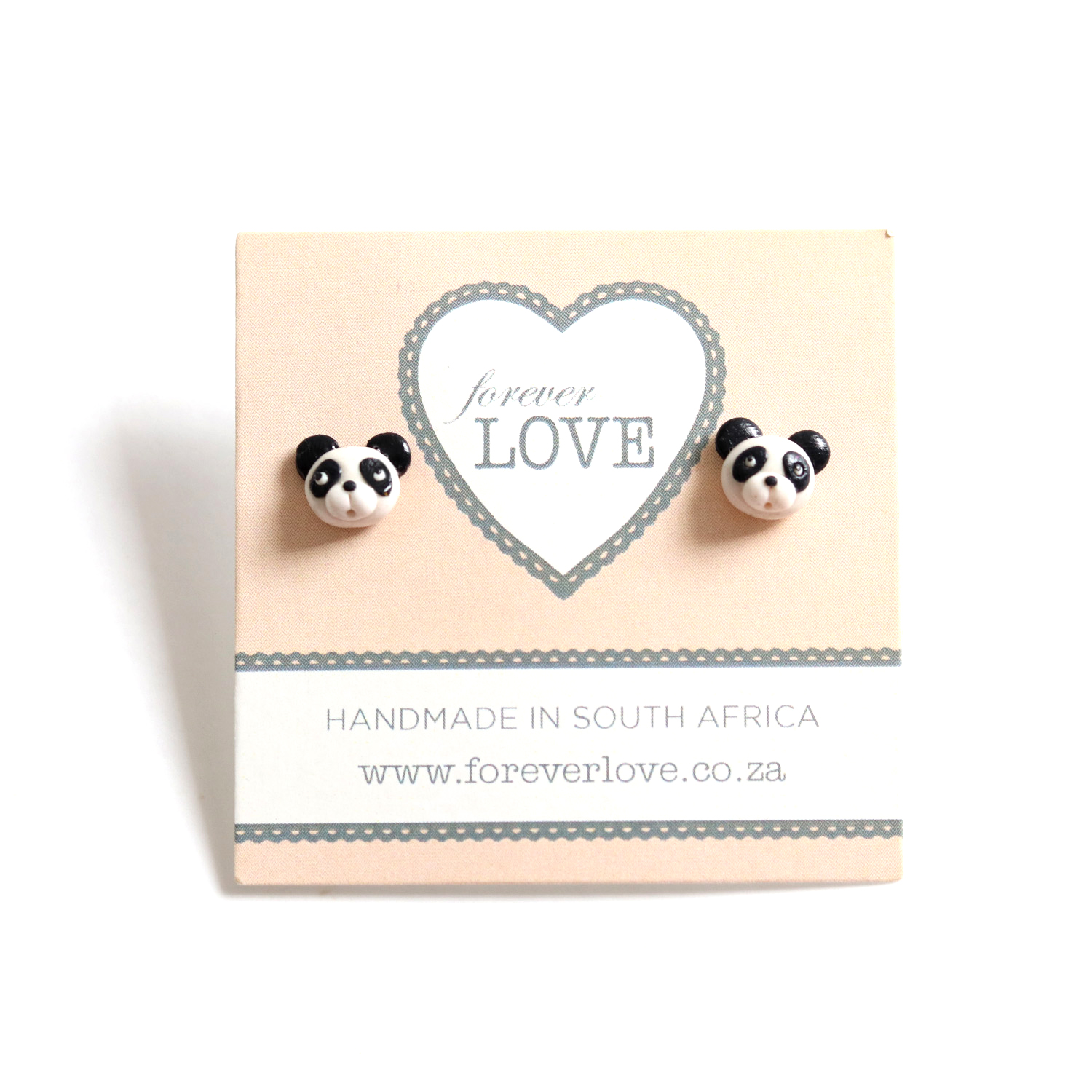 These totally adorable panda studs and unique handmade from polymer clay.