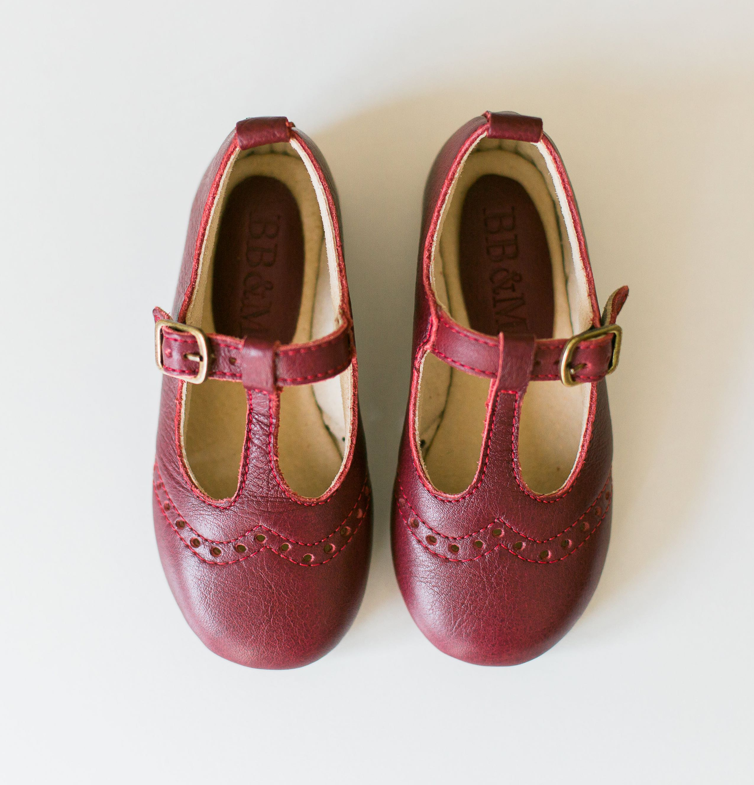 Girls Burgundy T-bar Mary Janes with broguing - MJ1