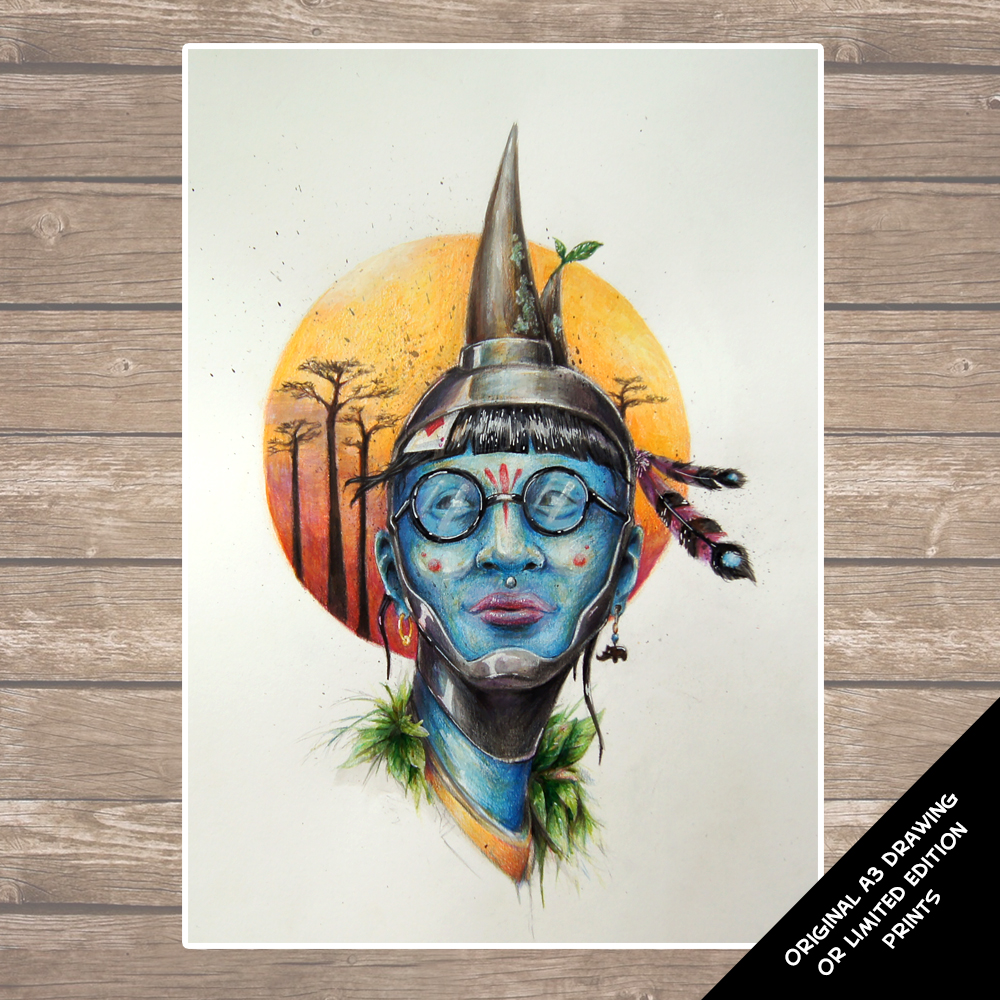 The Blues - Rhino Woman Illustration